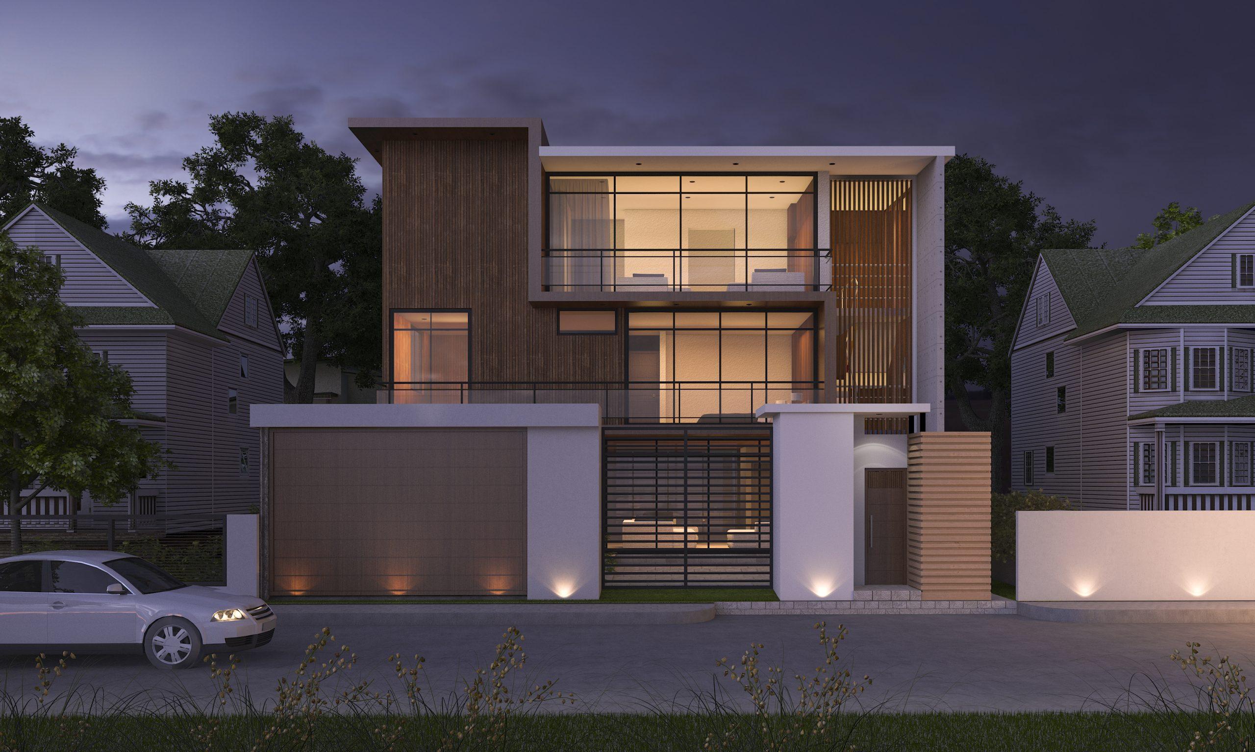 3d-rendering-luxury-modern-design-wood-building-near-park-nature-night-scene