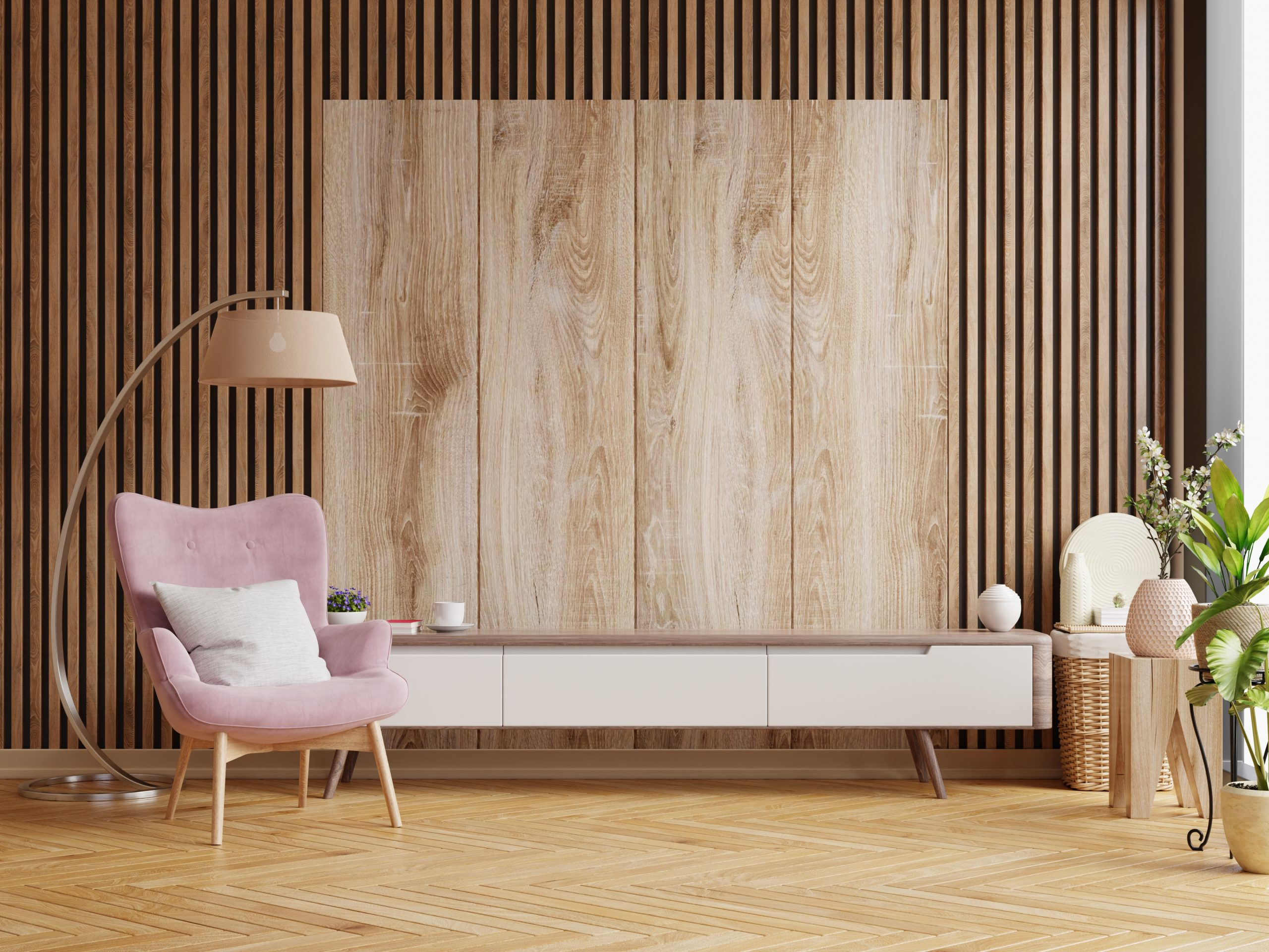 Cabinet designs for living room on wooden wall background,3d rendering