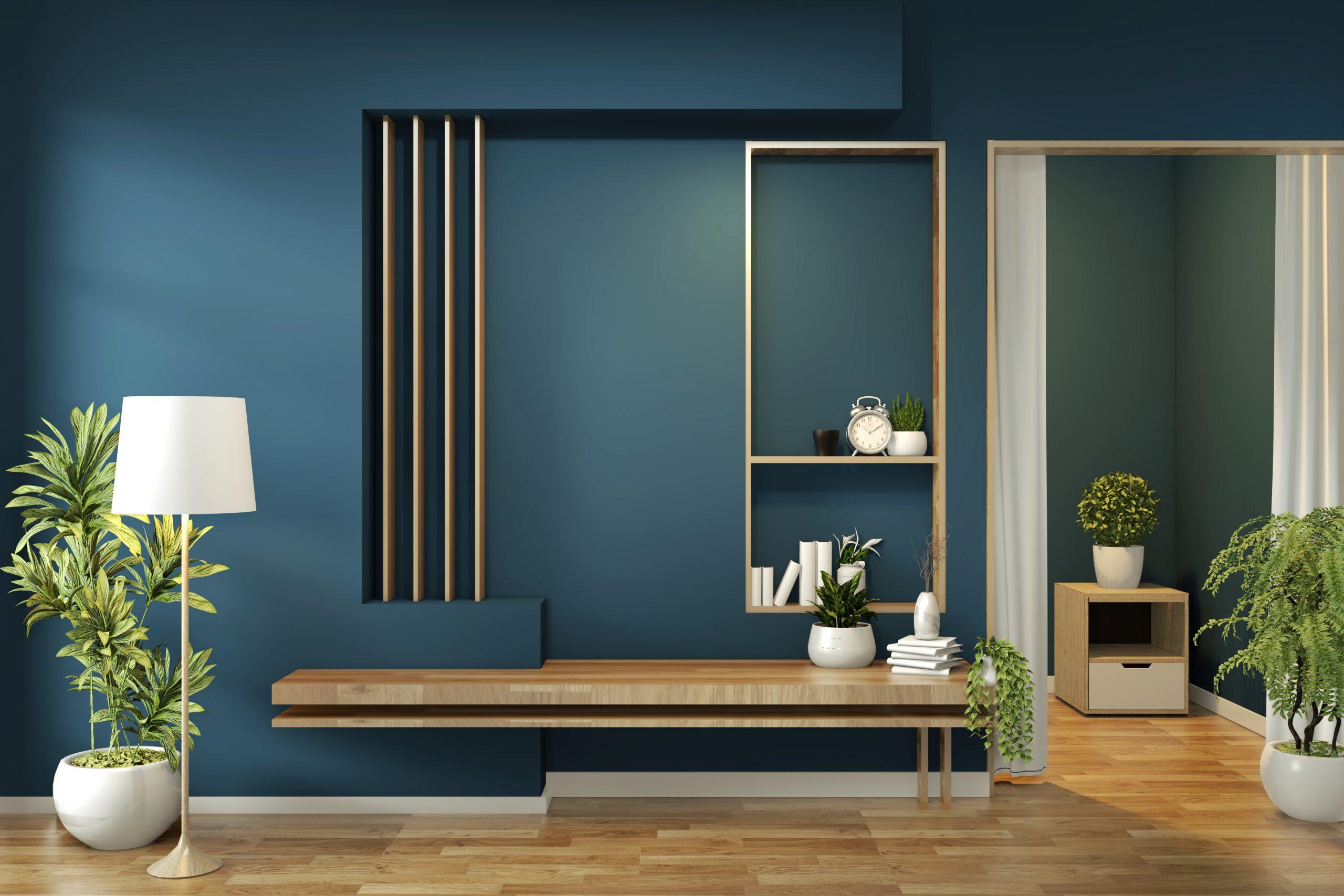 cabinet mock up on room dark blue on floor wooden minimal design.3D rendering