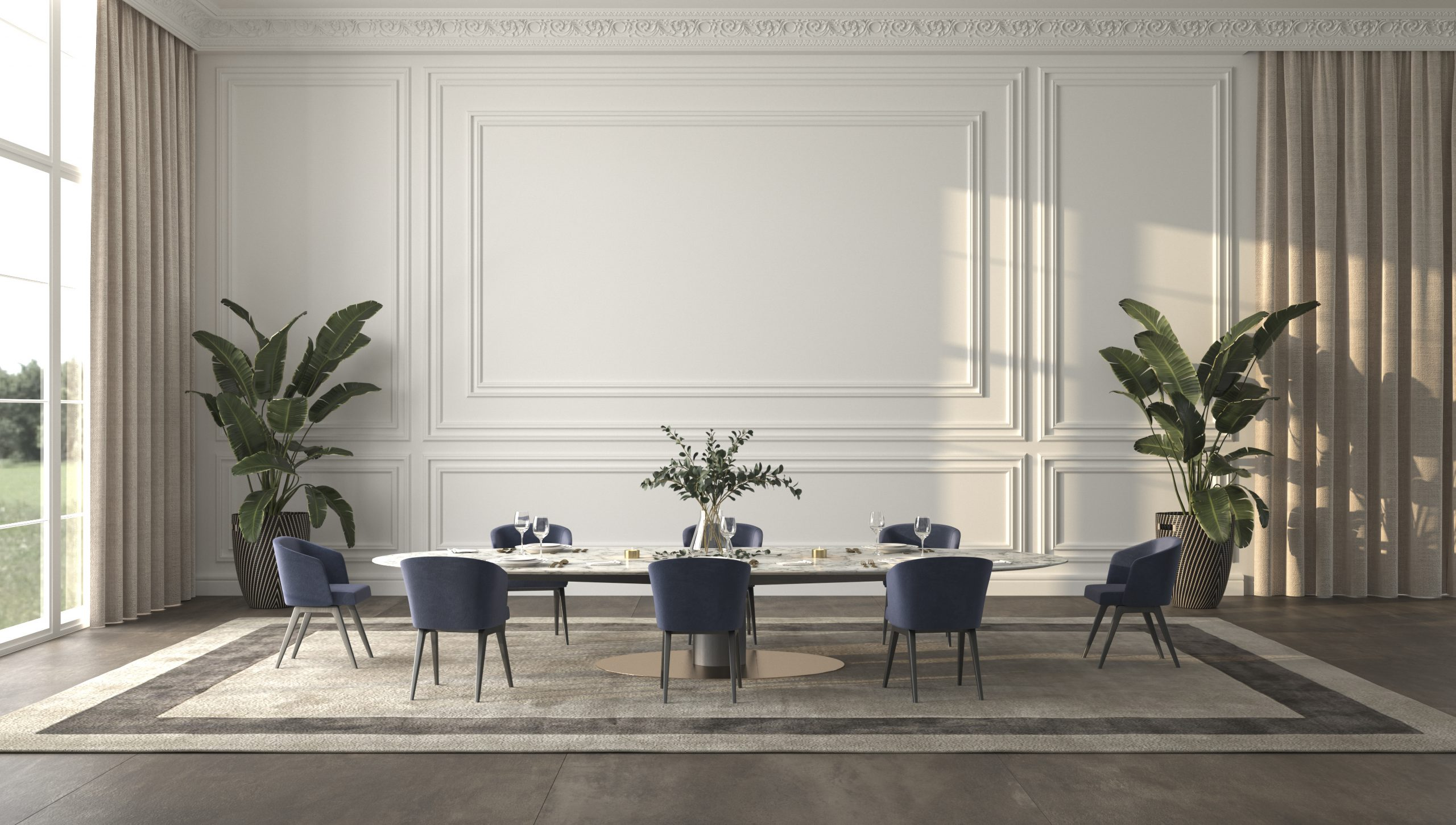 Luxury bright dining room with sun light and nature view background. Large windows, classic panels wall mock up, table with service and plants. Elegant 3d render illustration beige interior design.