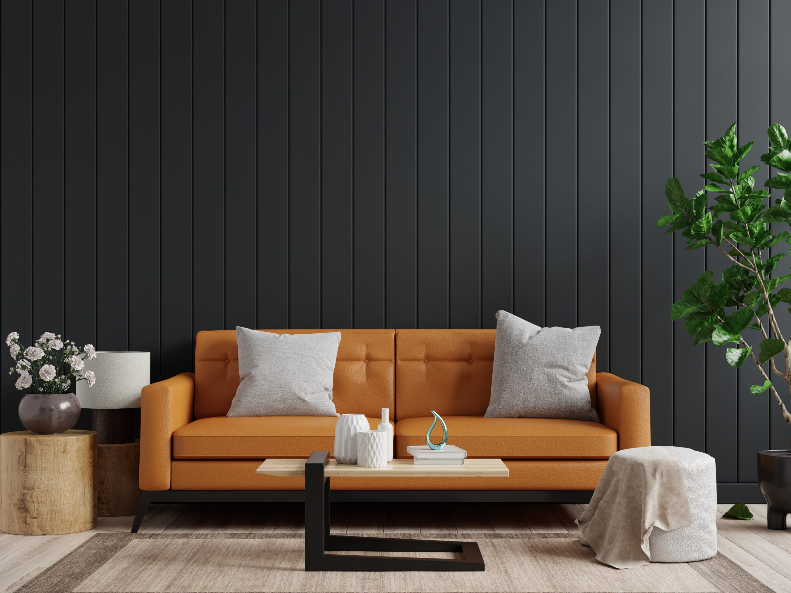 Mockup wall in dark living room interior background with Leather sofa and table on empty dark wooden wall background,3d rendering