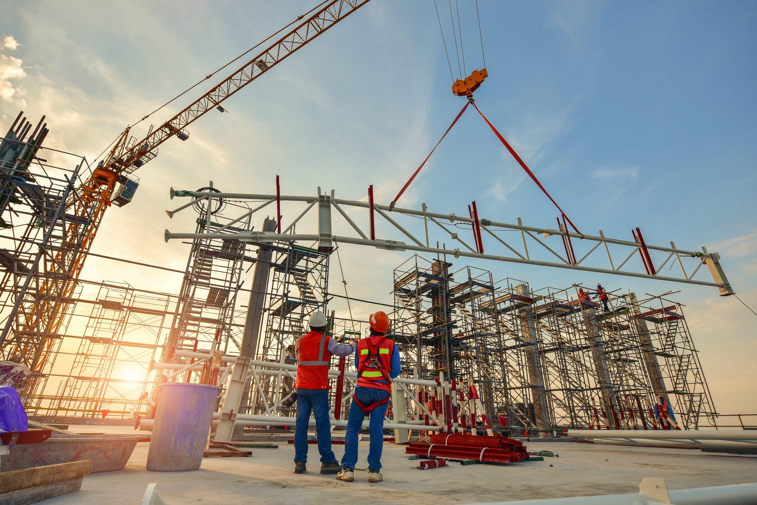 Construction worker truss installation