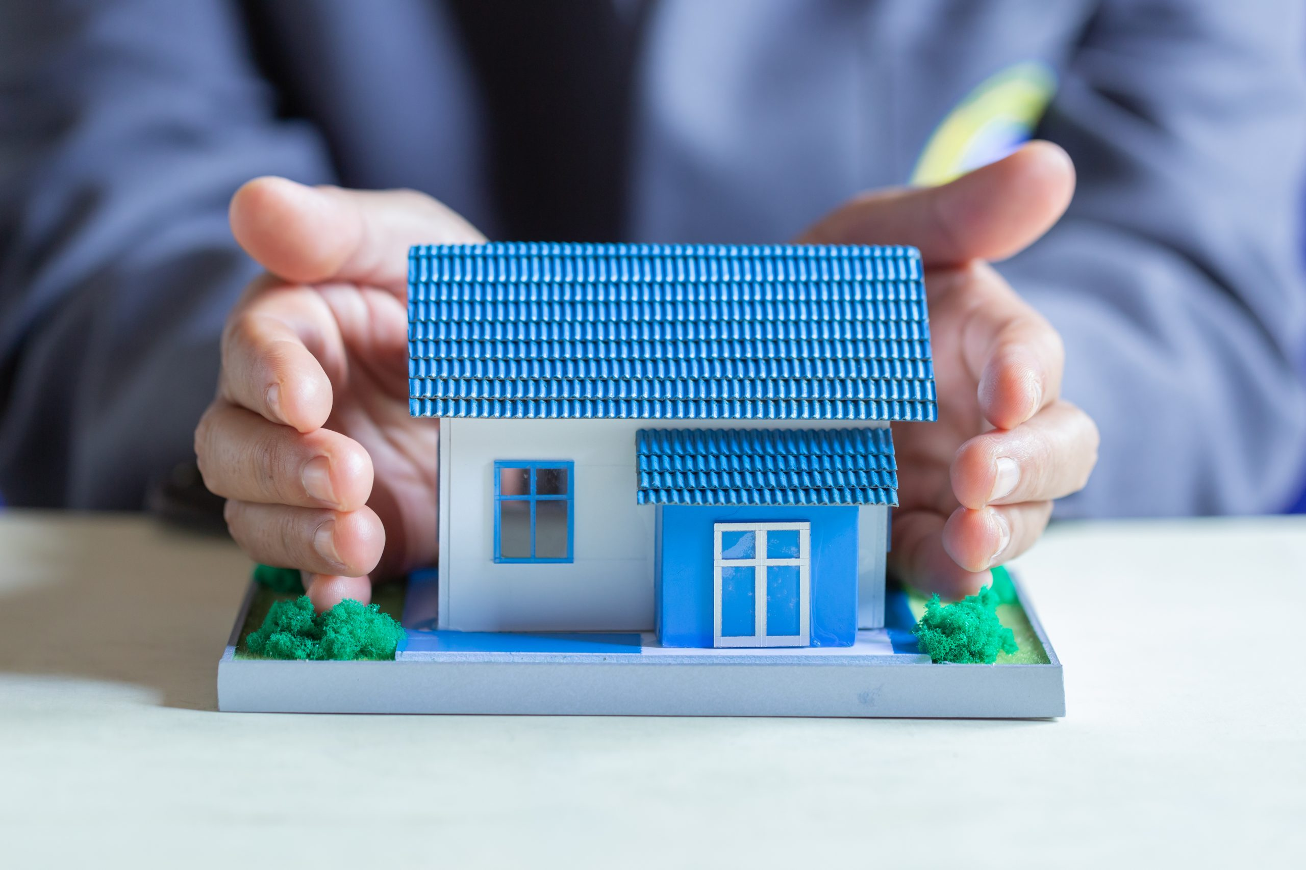 House protection in a bank. The concept of Protection and property insurance.